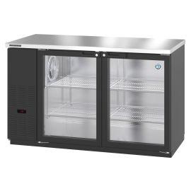 Hoshizaki BB59-G, Refrigerator, Two Section, Black Vinyl Back Bar Back Bar, Glass Doors