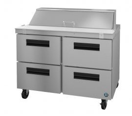 Hoshizaki CRMR48-12D4, Refrigerator, Two Section Sandwich Prep Table, Stainless Drawers