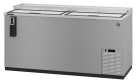 Hoshizaki HBC-50, Refrigerator, Two Section, Black Vinyl Back Bar Bottle Cooler, Slide Top Doors