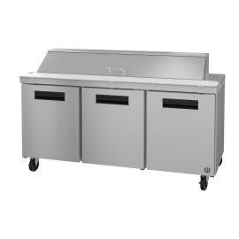 Hoshizaki SR72A-18, Refrigerator, Three Section Sandwich Prep Table, Stainless Doors