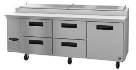 Hoshizaki CPT93-D4, Refrigerator, Three Section Pizza Prep Table, Drawer/Door Combo