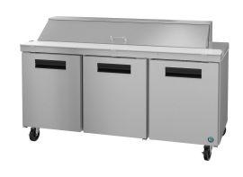 Hoshizaki CRMR72-18, Refrigerator, Three Section Sandwich Prep Table, Stainless Doors