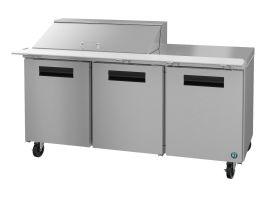 Hoshizaki CRMR72-18M, Refrigerator, Three Section Mega Top Prep Table, Stainless Doors