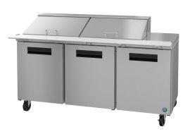 Hoshizaki CRMR72-24M, Refrigerator, Three Section Mega Top Prep Table, Stainless Doors