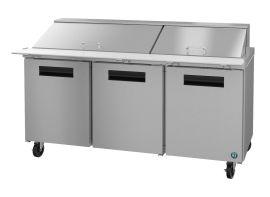 Hoshizaki CRMR72-30M, Refrigerator, Three Section Mega Top Prep Table, Stainless Doors