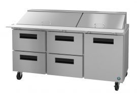 Hoshizaki CRMR72-30MD4, Refrigerator, Three Section Mega Top Prep Table, Drawer/Door Combo