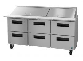 Hoshizaki CRMR72-30MD6, Refrigerator, Three Section Mega Top Prep Table, Stainless Drawers