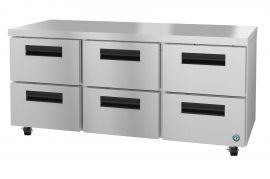 Hoshizaki CRMR72-D6, Refrigerator, Three Section Undercounter, Stainless Drawers