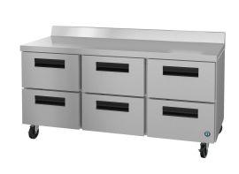 Hoshizaki CRMR72-WD6, Refrigerator, Three Section Worktop, Stainless Drawers
