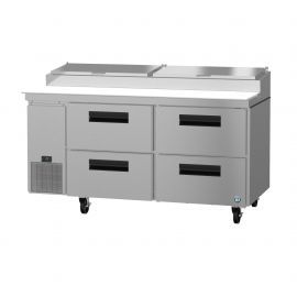 Hoshizaki PR67A-D4, Refrigerator, Two Section Pizza Prep Table, Stainless Drawers