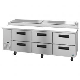 Hoshizaki PR93A-D6, Refrigerator, Three Section Pizza Prep Table, Stainless Drawers